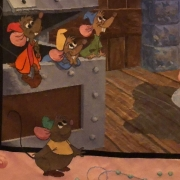 Detailanssicht des Cinderella-Wandteppichs mit Jaques & Karli