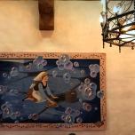 Wandteppich mit Cinderella beim Wischen des Bodens