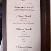 Französische Frühstückskarte der Auberge