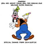 Auch Goofy eignet sich mit passendem Spruch als Motiv