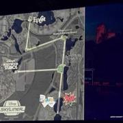 Karte über den Verlauf von Disneys Skyliner Gondelbahn