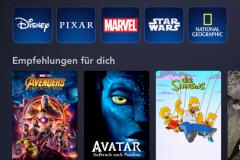 Deutsche Oberfläche von Disney+ am Smartphone