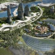 Das urbane Zentrum von Elysium City mit Wohnbezirken und Hotels