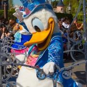 Donald Duck im Geburtstagskostüm