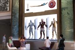 Marvel Ausstellungsstücke der Iron Man Anzüge in der Lobby des Hotel New York