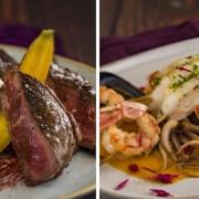Bone-In Ribeye mit Hibiskus und Fregula / Hummerspiess mit roten Shrimps, Tintenfisch und Parfümreis