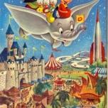 Die Disney Charaktere beim Flug über Disneyland Anaheim