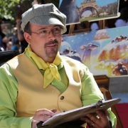 Zeichner unterhielten und karikierten die Besucher wie am Montmartre