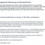 Statement Disneyland Paris zur Schließung wegen Corona