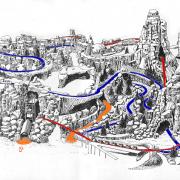 Konzeptzeichung von Thunder Mesa  mit den Wegen: Blau Western River Expedition, Rot Big Thunder Mountain, Orange Fußwege