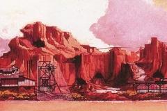 Konzeptzeichnung der Fassade von Thunder Mesa, an das Monument Valley angelehnt