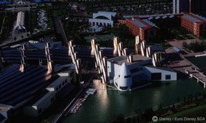 Luftaufnahme des Festival Disney, ungefähr aus Richtung des heutigen Disney Village Dome