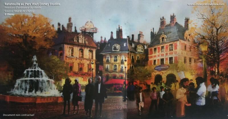 Diese Concept Art von Ratatouille zeigt eine stimmungsvolle Straßenszene aus Paris