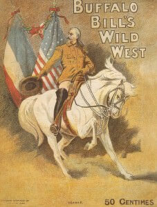 Ein Original-Plakat der ursprünglichen Buffalo Bil's Wild West Show, die in Paris aufgeführt wurde