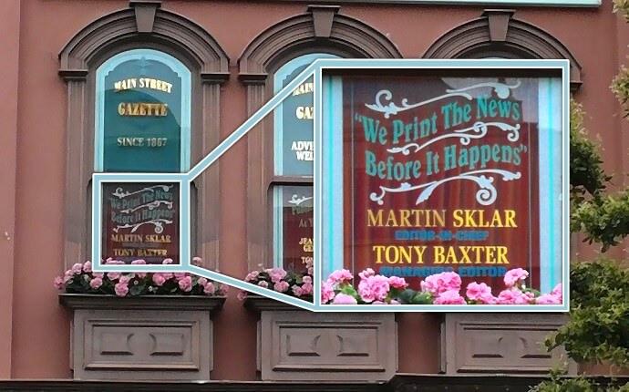 Fenster in der Main Street U.S.A. mit Marty Sklar und Tony Baxter