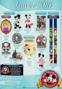Disneyland Paris Pin Trading Kollektion im Januar 2016