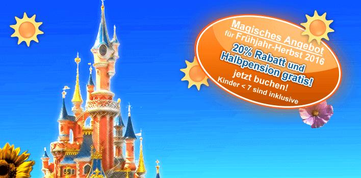 Grafik zum Sonderangebot 20% + Halbpension gratis für das Disneyland Paris, gültig Frühjahr bis Herbst 2016