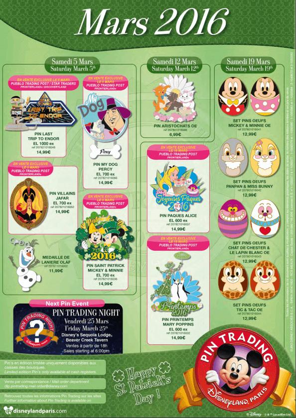 Die Pins, die im März 2016 im Disneyland Paris Pin Trading erscheinen
