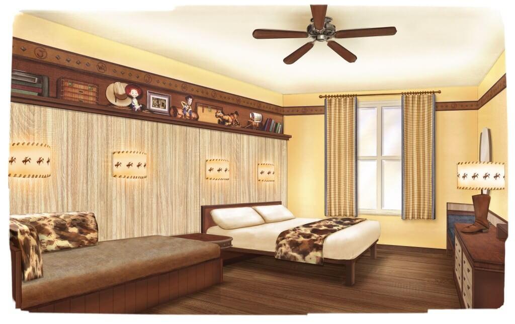 Das Bild zeigt eine Konzeptzeichnung der neuen Zimmer im Hotel Cheyenne