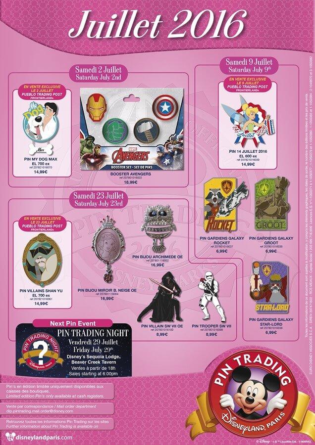 Alle Pins aus der Pin Trading Kollektion im Juli 2016