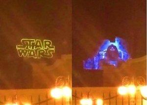 Star Wars Projektion auf dem Tower of Terror im Disneyland