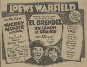 Loews Frisco Warfield Plakat 1931