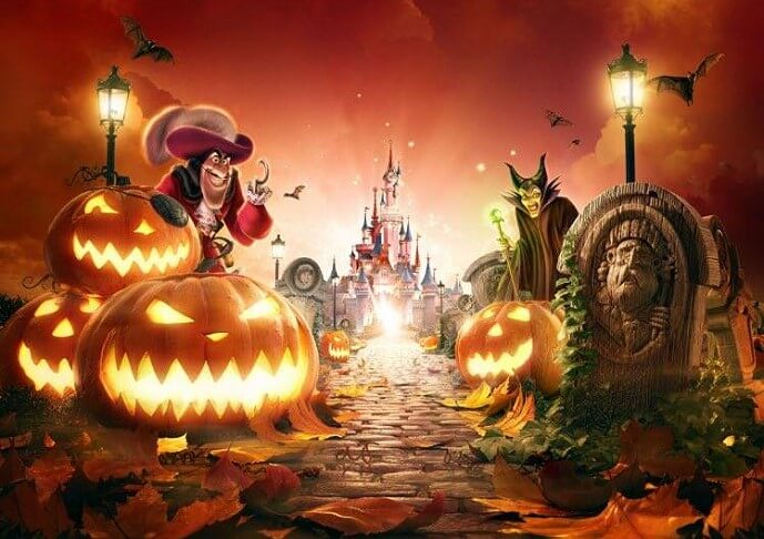Concept Art zu Halloween 2017 im Disneyland mit Captain Hook, Malefiz, Boot Hill Grabstein