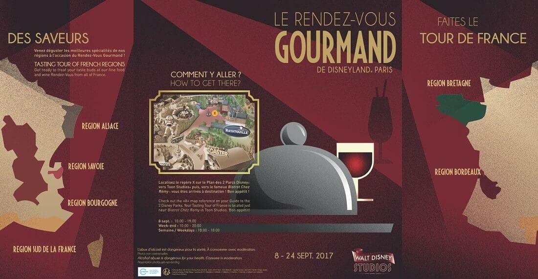 Flyer zum French Food & Wine Festival Rendez-vous Gourmande im Disneyland Paris