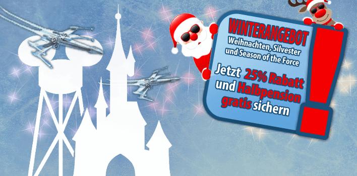 Winterangebot für die Weihnachtszeit, Silvester und die Season of the Force mit 25% Rabatt und Halbpension gratis