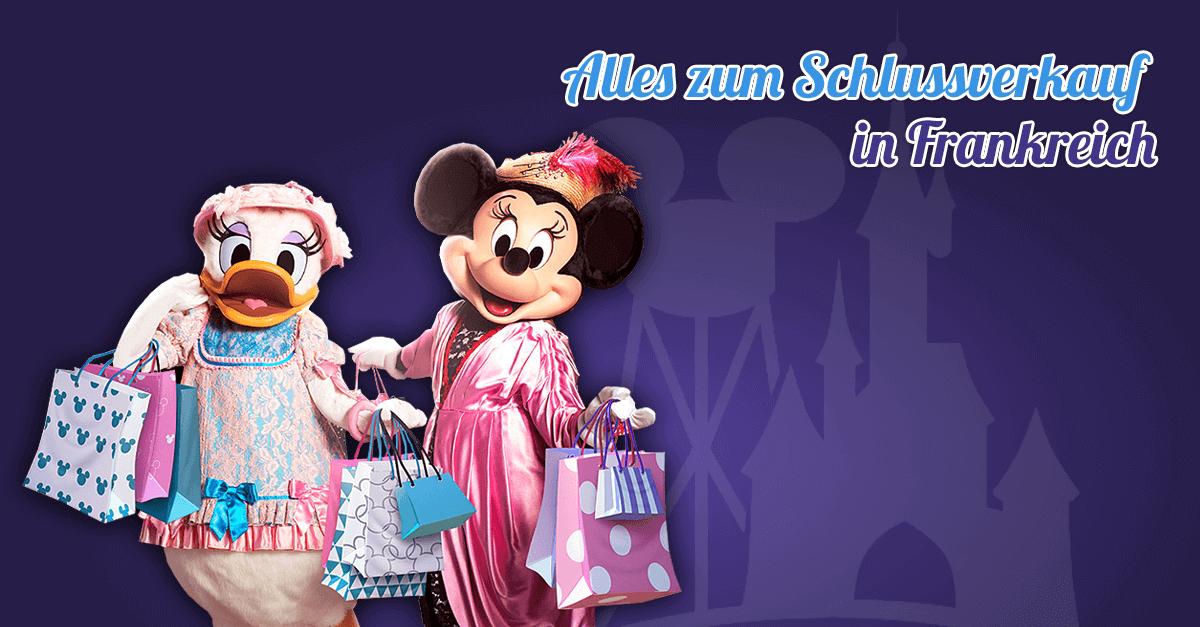Daisy und Minnie shoppen im Disneyland Paris beim Schlussverkauf (Soldes / Sale) in Frankreich