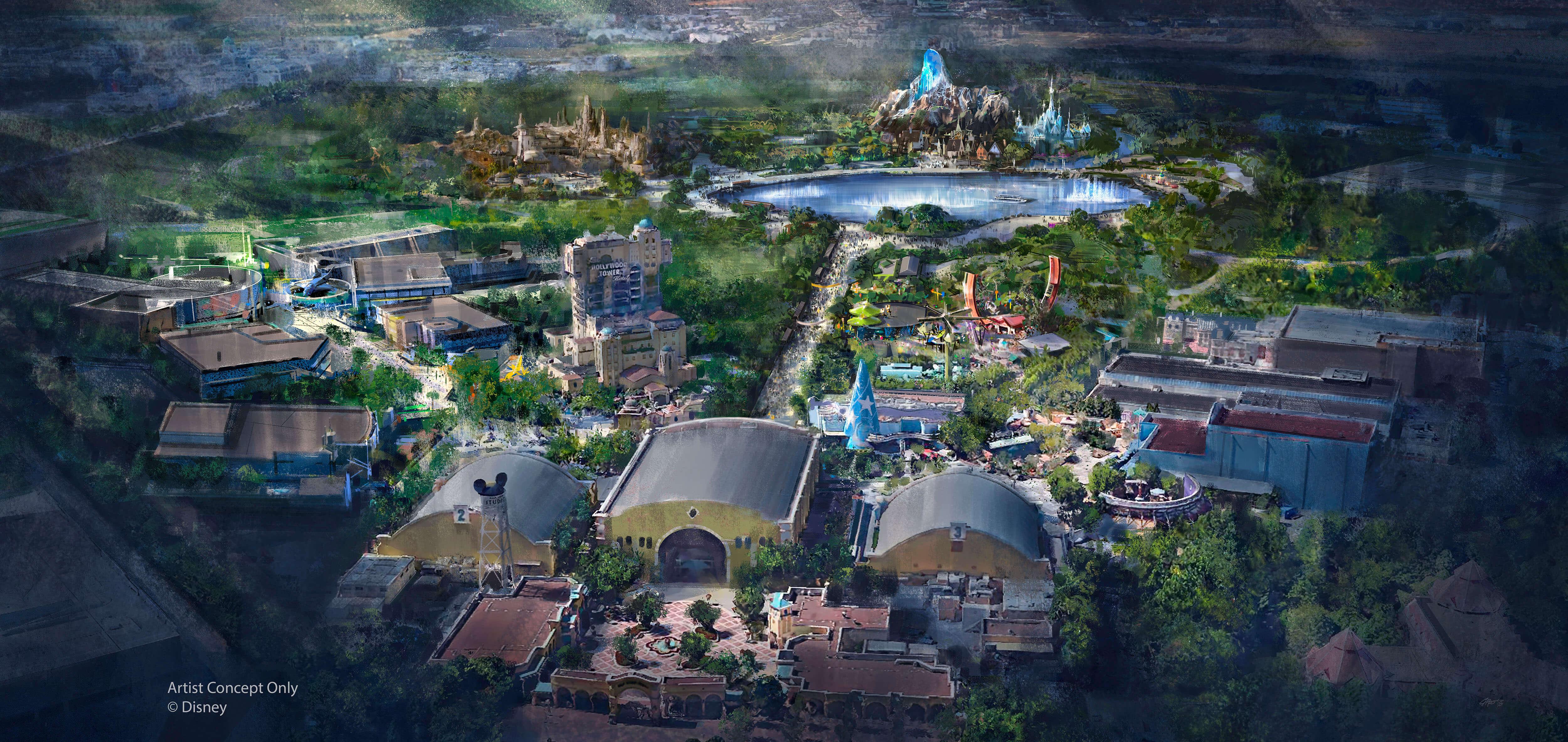 Concept Art mit den neuen Ländern für die Erweiterung der Walt Disney Studios Paris mit Star Wars Land, Marvel Land und Frozen Land