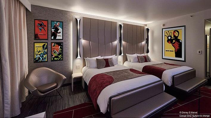 Zimmer in Disneys neuem Marvel Hotel