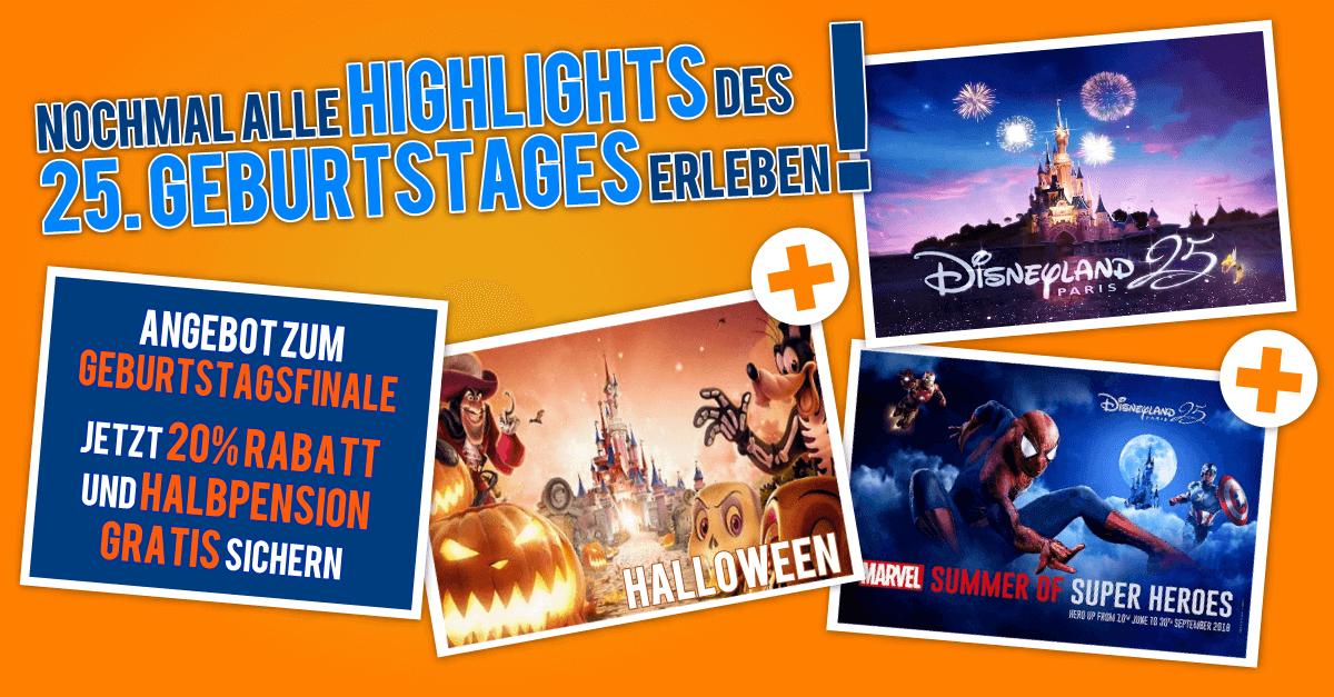 Angebot zum Geburtstagsfinale im Disneyland Paris
