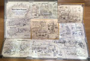 Landkarte auf der Rückseite von Postkarten