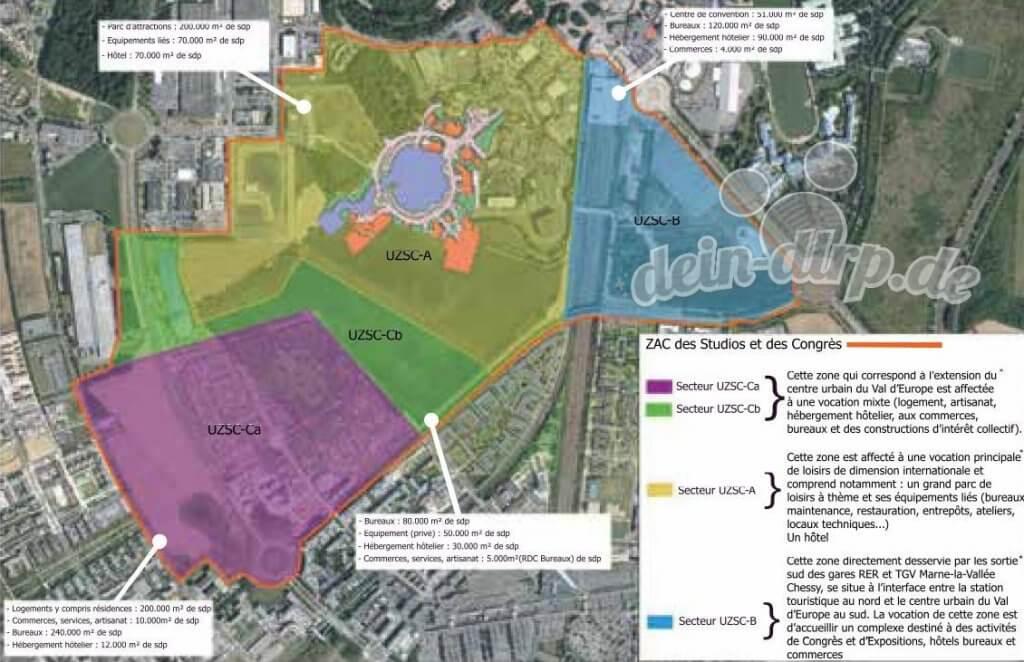 Zonen für die Erweiterung des Resorts