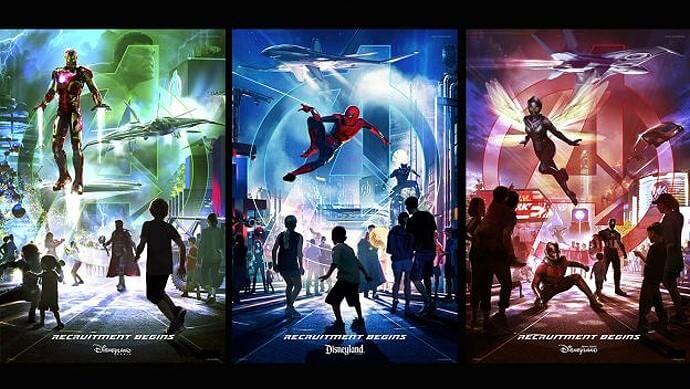 Concept Arts für Marvelbereiche im Disneyland Paris, Anaheim und Hong Kong