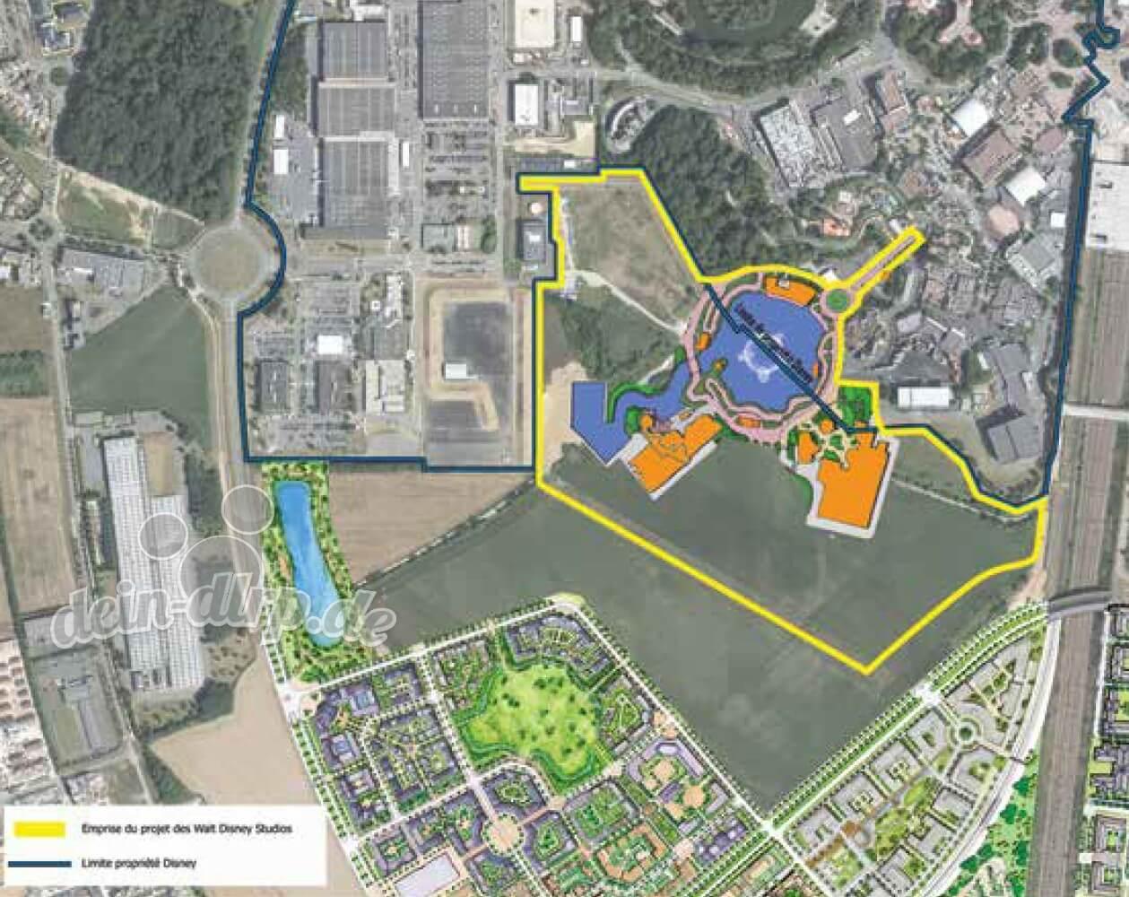 Die Lage der neuen Länder der Erweiterung des Walt Disney Studios