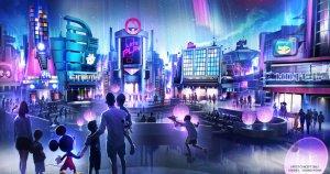 Konzept Art, futuristische Gebäude und Mickey