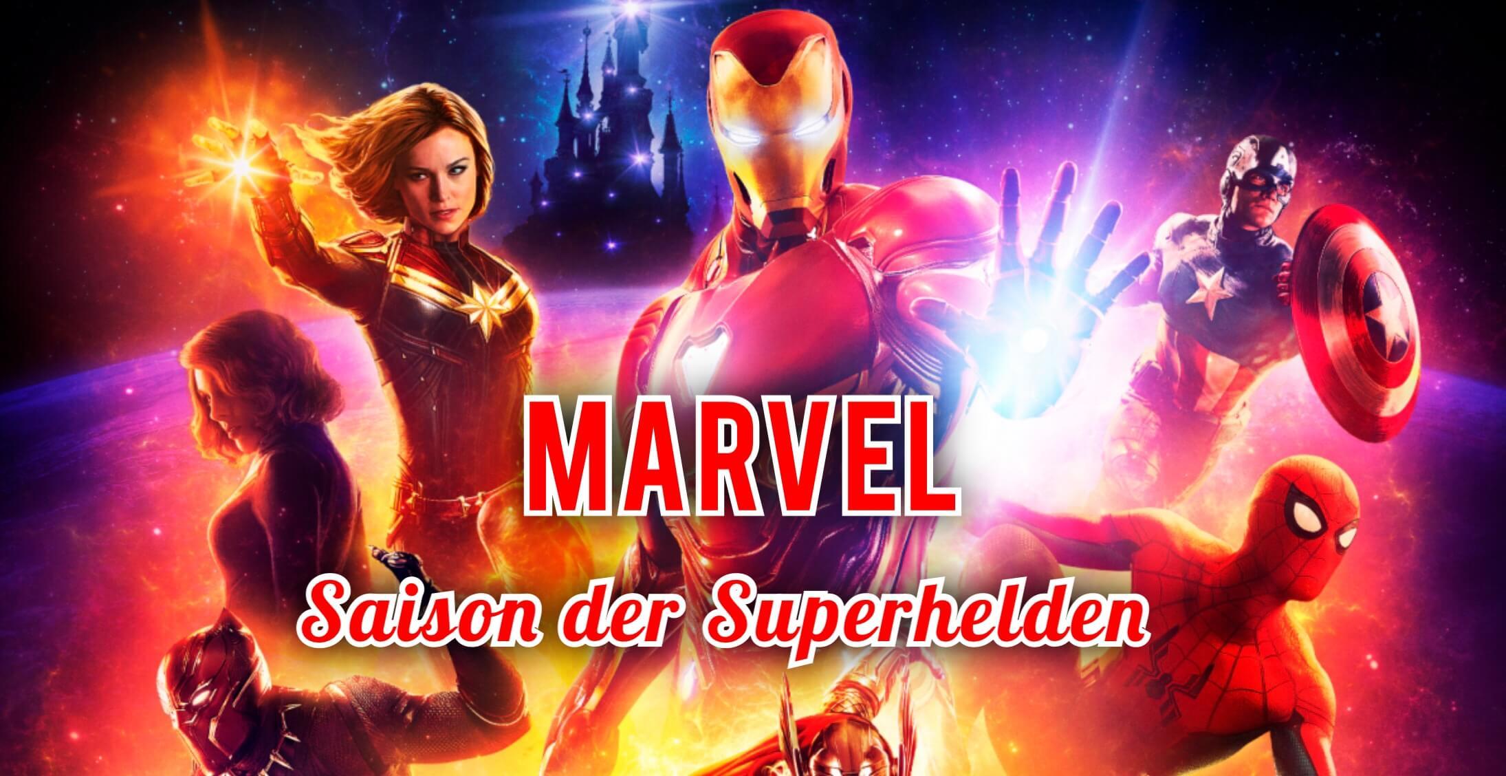 Marvel Superhelden mit Disney Schloss im Hintergrund