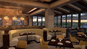 Innenansicht des Restaurants mit Ausblick auf die Landschaft