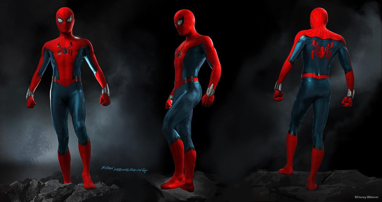 Drei Pose von Spiderman in seinem neuen Outfit das in den Walt Disney Studios präsentiert wird