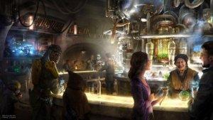 Zeichnung einer Bar im Weltraum