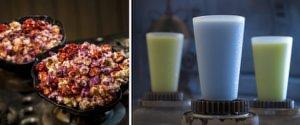 Buntes Popcorn und blaue und grüne Getränke