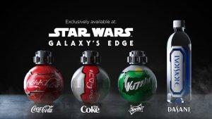 Verschiedene spezielle Getränkeflaschen für Star Wars Galaxy Edge