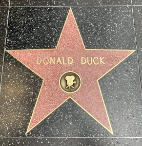 rosa Stern mit Donald Duck Beschriftung auf dem Walk of Fame in Hollywood, Los Angeles