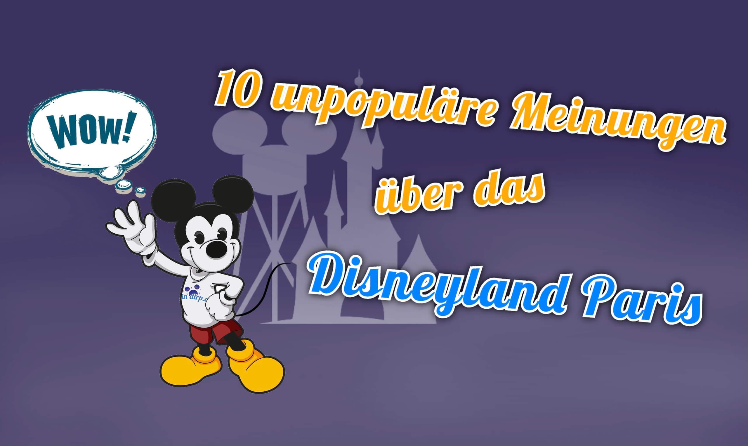 Mickey mit Sprechblase und Earfelltower im Hintergrund
