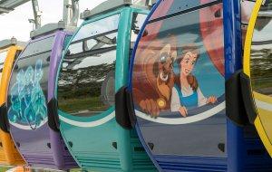 Die vielen bunten Gondeln des Disney Skyliner