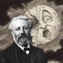 Jules Verne vor dem Mond aus Von der Erde zum Mond