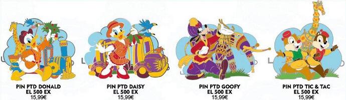 vier Disney Pins zum Dschungeltag im Disneyland Paris