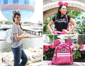 Imagination Pink und Magic Mirror Metallic Rucksack und Minnie-Ohren